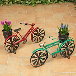 Welcome Bicycle Wind Spinner Planters
