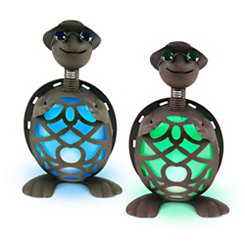 Pre-Lit Metal Turtle Figurines, Set of 2