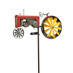 Pre-Lit Tractor Wind Spinner Yard Stake