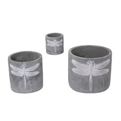 Dragonfly Cement Planter, Set of 3