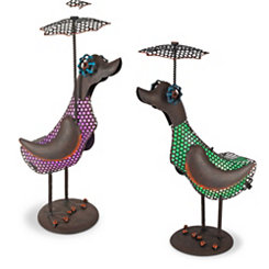 Solar Powered LED Duck Statues, Set of 2