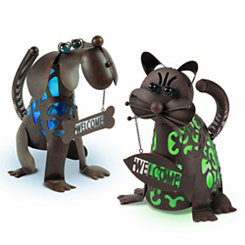 Welcoming Dog and Cat Solar Lanterns, Set of 2