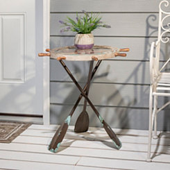 Nautical Oar and Ship Wheel Side Table