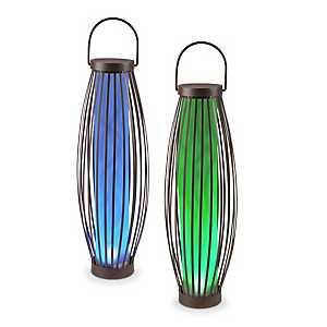 Metal Barrel Solar Lanterns, Set of 2