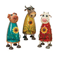Solar Barn Yard Friend Figurines, Set of 3