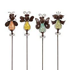 Solar Colored Glass Insect Yard Stakes, Set of 4