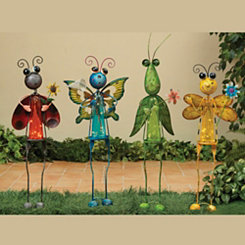 Solar Garden Insect Figurines, Set of 4