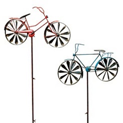 Antique Wind Spinner Bicycle Yard Stakes, Set of 2