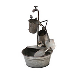 Electric Galvanized Gardening Tools Fountain