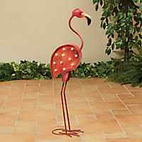 LED Pink Outdoor Flamingo Figurine with Timer