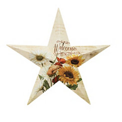 Botanical Welcome Metal Star Wall Plaque