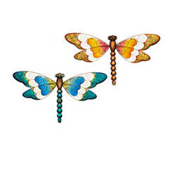 Colorful Metal Dragonfly Outdoor Plaques, Set of 2