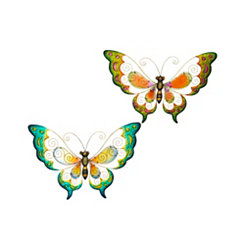 Colorful Metal Butterfly Outdoor Plaques, Set of 2