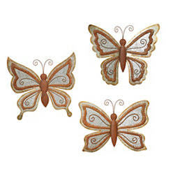 Galvanized Outdoor Butterfly Plaques, Set of 3