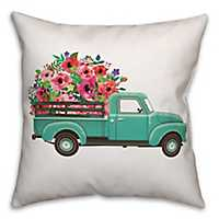 Floral Truck Double-Sided Pillow