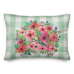 Floral Buffalo Check Double-Sided Accent Pillow