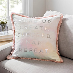 Watercolor Wake Up and Create Pillow