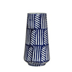 Blue and White Hand Painted Vase, 12 in.