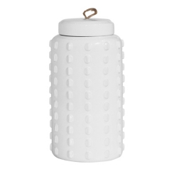 White Dotted Decorative Jar with Lid