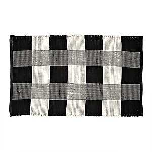 Black and White Buffalo Check Accent Rug, 2x4