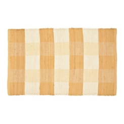 Beige and White Buffalo Check Rug, 2x4