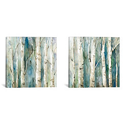 River Birch Diptych Canvas Art Prints, Set of 2