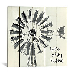 Let's Stay Home Windmill Canvas Art Print