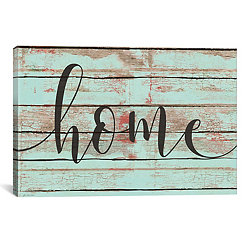 Home Faux Wood Plank Canvas Art Print