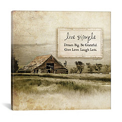 Live Simple Barn Canvas Art Print
