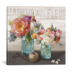 French Cottage Bouquet Canvas Art Print