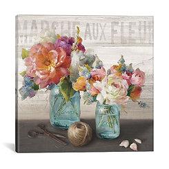 French Cottage Bouquet Canvas Art Print