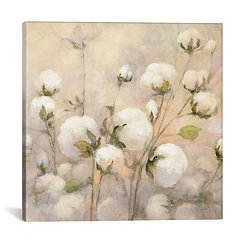 Cotton Field Close Up Canvas Art Print