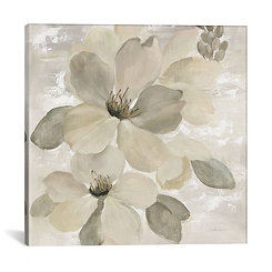 White on White Floral Canvas Art Print