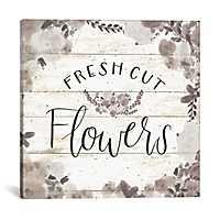 Fresh Cut Flowers Shiplap Canvas Art Print