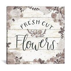 Fresh Cut Flowers Shiplap Canvas Art Print