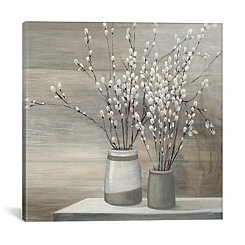 Pussy Willow in Gray Pot Canvas Art Print