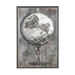 Painted Globe Framed Canvas Art Print