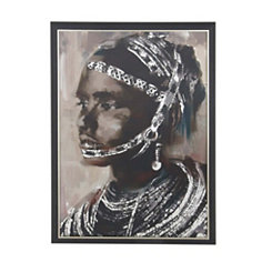 Painted Tribal Woman Framed Canvas Art Print