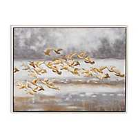 Golden Birds Framed Canvas Art Print