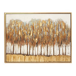 Abstract Gold Forest Framed Canvas Art Print