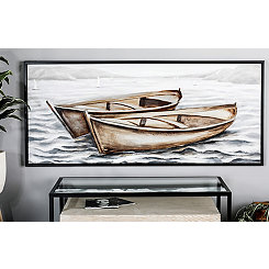 Boats on Wavy Sea Framed Canvas Art Print