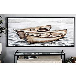 Boats on Wavy Sea Framed Canvas Art Print