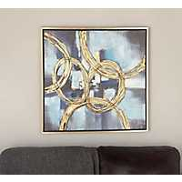 Blue Overlapping Rings Framed Canvas Art Print