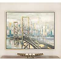 Modern City Wood Framed Canvas Art Print
