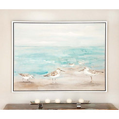 Seashore Birds Framed Canvas Art Print