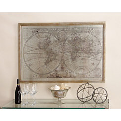 World Map Wood Framed Art Print