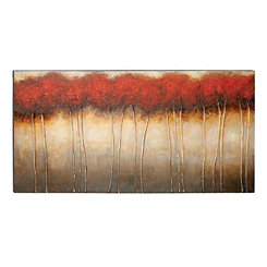 Red and Brown Treescape Canvas Art Print