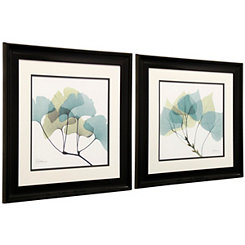Blue Leaves Framed Art Prints, Set of 2