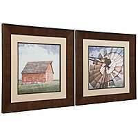 Barn & Windmill Framed Art Prints, Set of 2