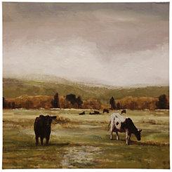 Cattle Graze I Hand Embellished Canvas Art Print
